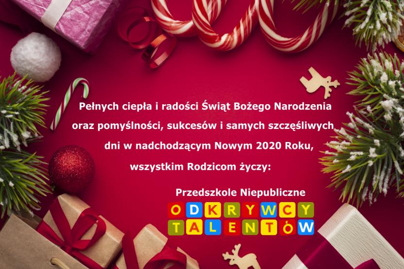 Wesołych Świąt życzy Przedszkole Niepubliczne Odkrywcy Talentów :)